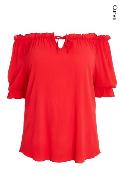 Curve Red Bardot Top
